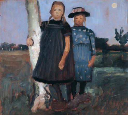 """Paula Modersohn-Becker: """"Zwei Mädchen an einem Birkenstamm stehend"""", 1902"""