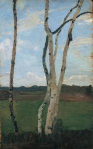 """Paula Modersohn-Becker: """"Birkenstämme vor Landschaft"""", um 1901"""