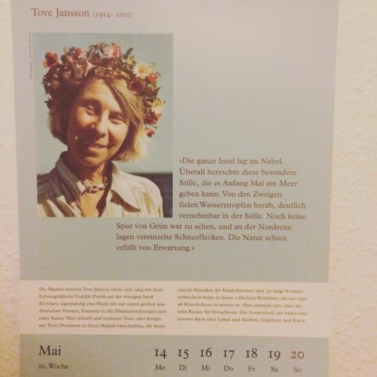Beitrag über Mumin-Erfinderin Tove Jansson im Kalender